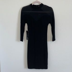 BNWT Bebe black with mesh tight mini dress, XS
